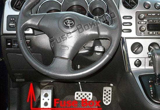 Ubicación de los fusibles en el habitáculo: Toyota Matrix (E130; 2003-2009)