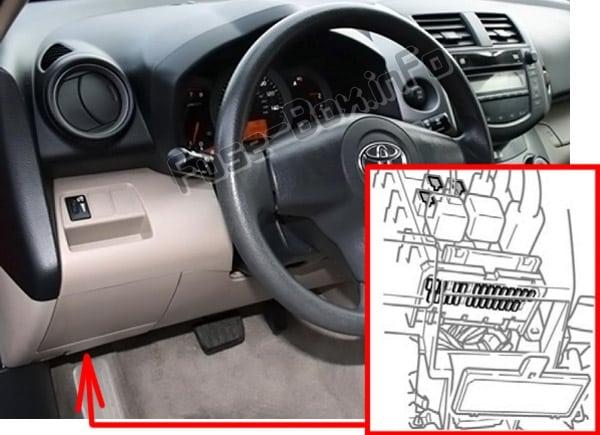 Ubicación de los fusibles en el habitáculo: Toyota RAV4 (XA30; 2006-2012)