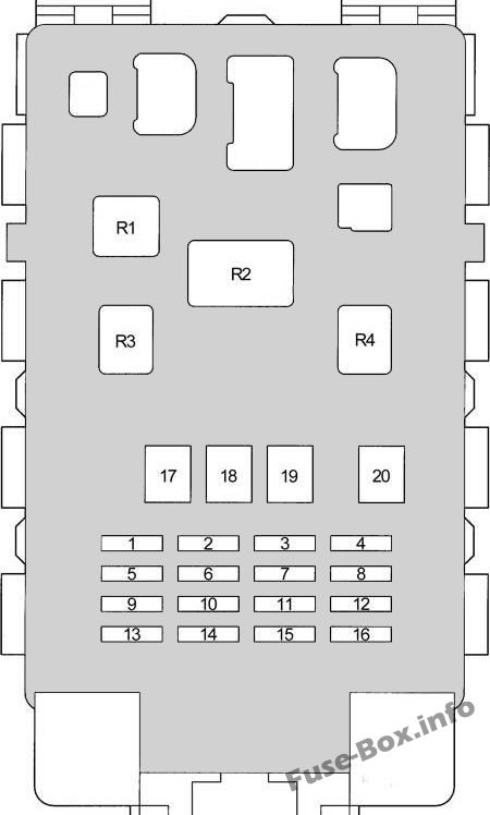 Diagrama de la caja de fusibles del panel de instrumentos: Toyota Yaris / Echo / Vitz / Yaris Verso / Echo Verso (1999-2005)