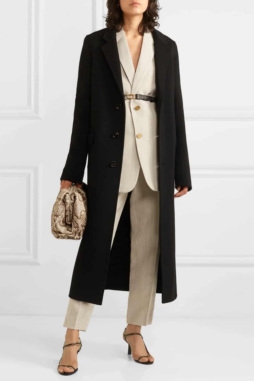 Abrigo Bottega Veneta de lana con cinturón