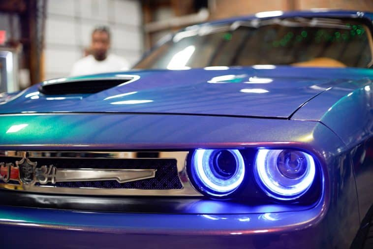 Customized Dodge Challenger with LED headlights