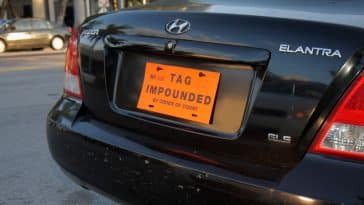 Impounded car tag