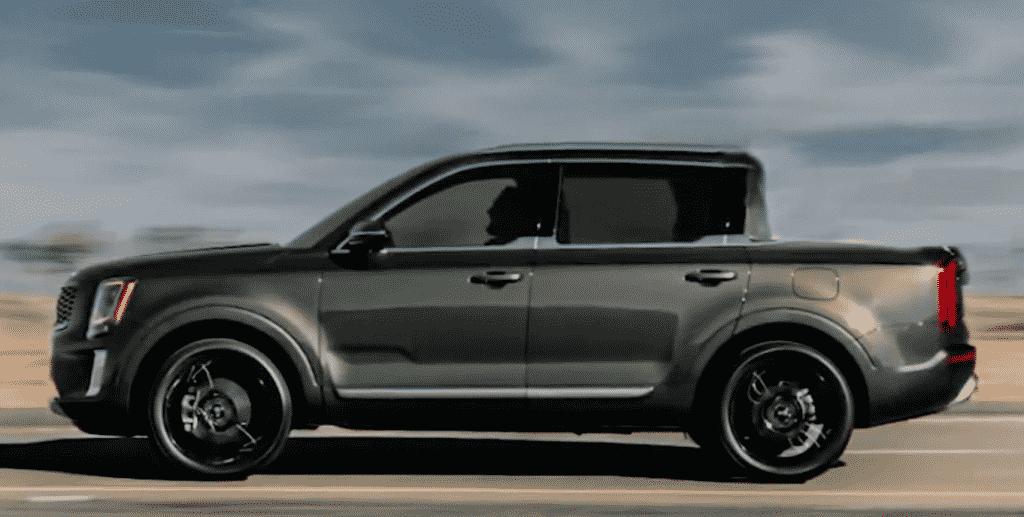 Representación de una camioneta Kia Telluride a gran velocidad en el desierto