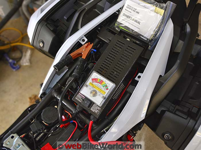 battery tester on the motorcycle