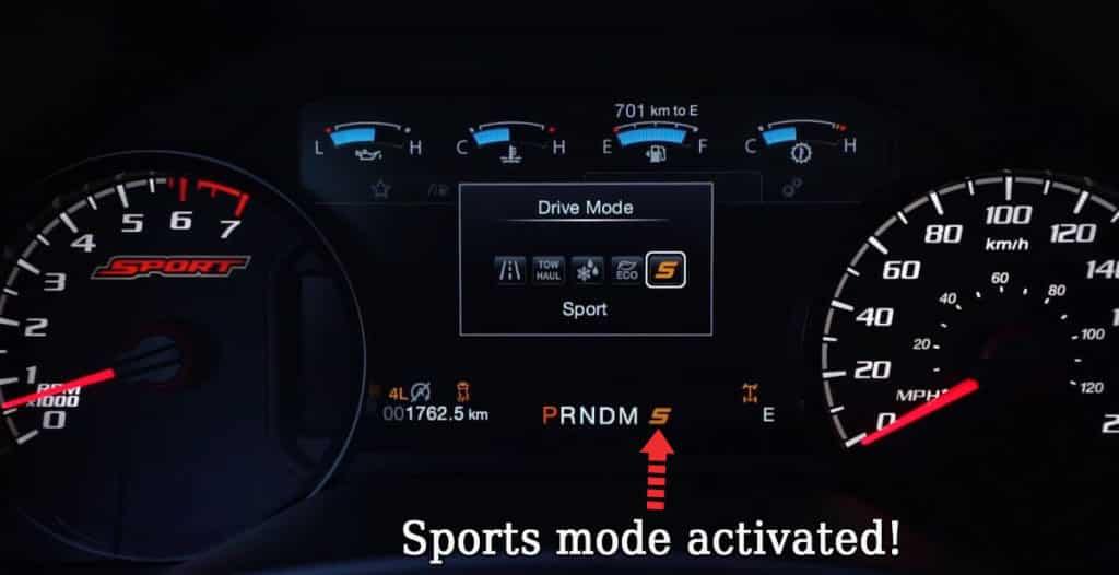 ford f 150 drive mode sport activated