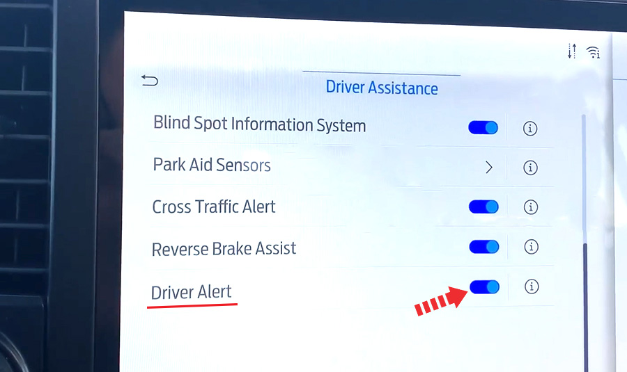 ford f 150 driver alert enable disable setting