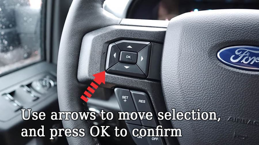 ford f 150 sports drive mode normal steering wheel buttons arrows ok