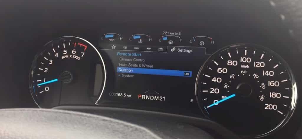 configuración de la duración del inicio remoto del ford f150