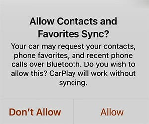 gmc allow contacts sync bluetooth iphone